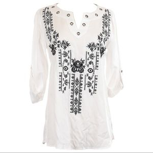 Multiples White Hi-Lo Blouse with Black Embroidery